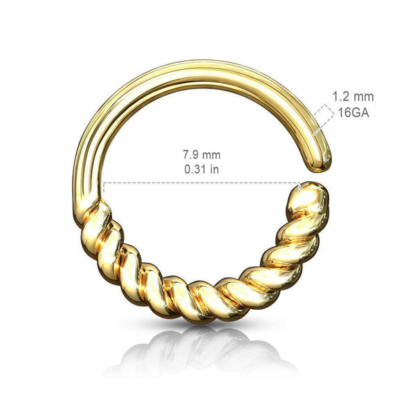 14kt Gold Plated Twisted Continuous Ring 16G