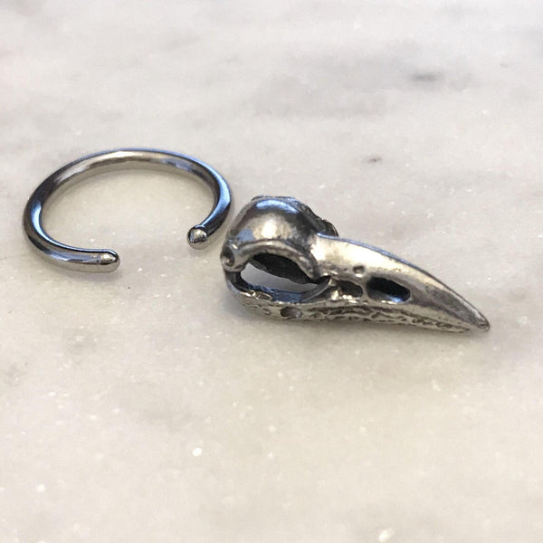 Crow Skull Captive Ring 18G 16G 14G
