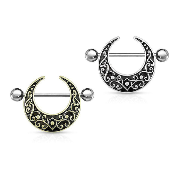 Filigree Crescent Nipple Shield 14G 12mm-My Body Piercing Jewellery