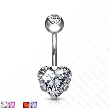 Solid Titanium Heart Belly Bar 14G