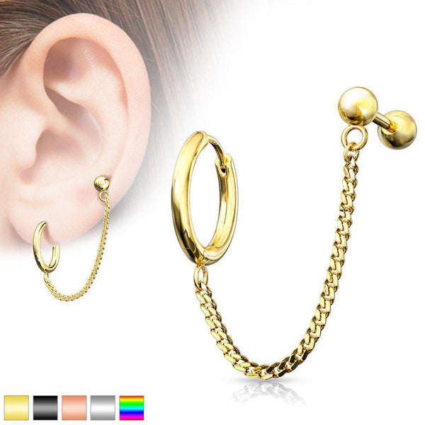 Chain Clicker Ring & Cartilage Bar 18G-My Body Piercing Jewellery