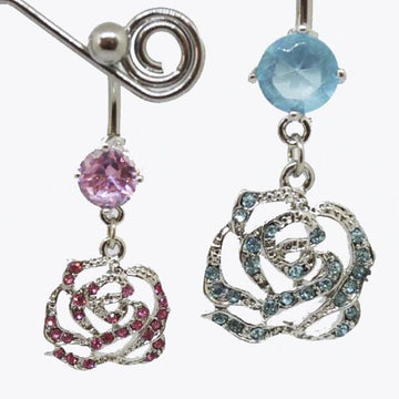 Gemmed Rose Belly Bar 14G