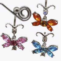 Gem Butterfly Belly Bar 14G-My Body Piercing Jewellery