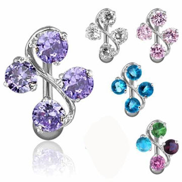 Gem Vine Top Drop Belly Bar 14G