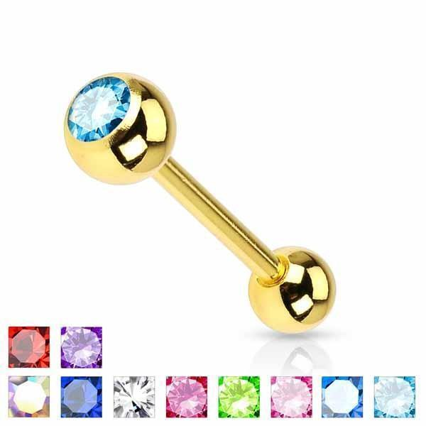 Gold IP Barbell with Gem 14G-My Body Piercing Jewellery