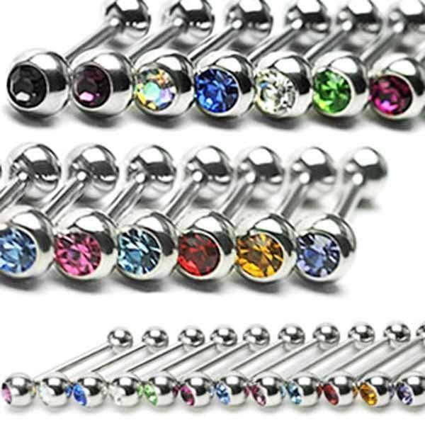 Gem Barbell 14G-My Body Piercing Jewellery