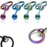 Titanium IP Gem Barbell with Slave Ring 14G-My Body Piercing Jewellery