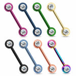 Forward Facing IP Gem Nipple Bar 14G-My Body Piercing Jewellery