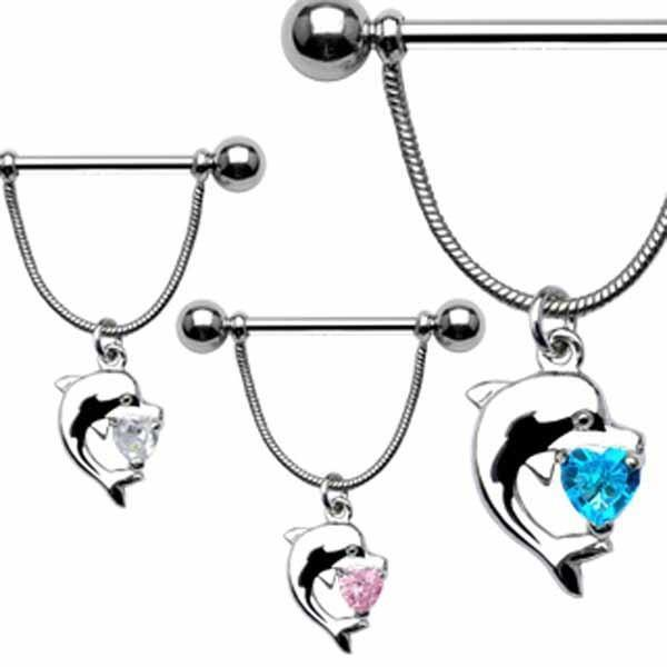 Dolphin Nipple Dangle 14G-My Body Piercing Jewellery