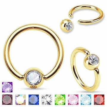 Gold IP Gem Captive Ring 16G 14G