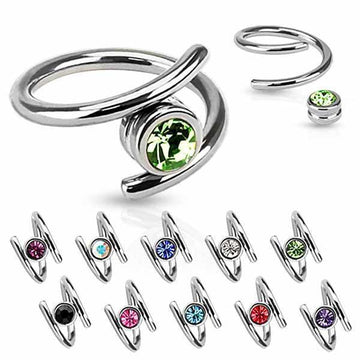 Gem Twist Captive Ring 16G 14G