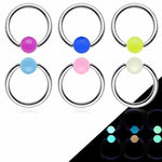 Glow Ball Captive Ring 16G 14G-My Body Piercing Jewellery