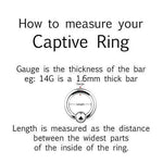 Glow Ball Captive Ring 16G 14G