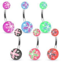Floral Print Belly Bar 14G-My Body Piercing Jewellery