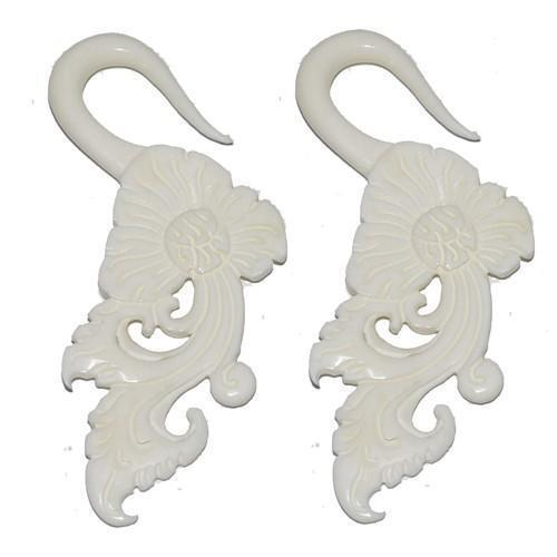 Bone Floral Hanger PAIR 10G 8G 6G 4G-My Body Piercing Jewellery