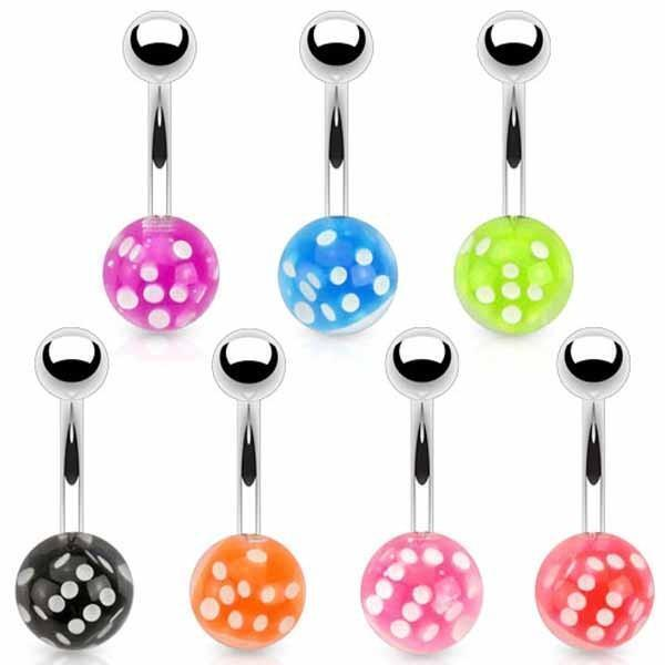 Floating Dice Belly Bar 14G-My Body Piercing Jewellery