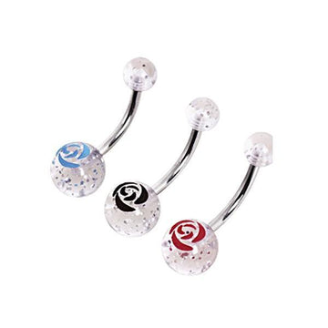 Glitter Rose Belly Bar 14G