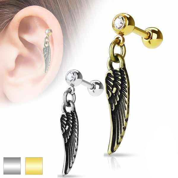 Feather Cartilage Bar 16G-My Body Piercing Jewellery