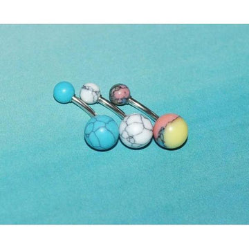 Synthetic Stone Belly Bar 14G