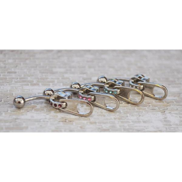 Gem Zipper Belly Bar 14G-My Body Piercing Jewellery