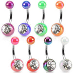 Metallic Gem Belly Bar 14G-My Body Piercing Jewellery