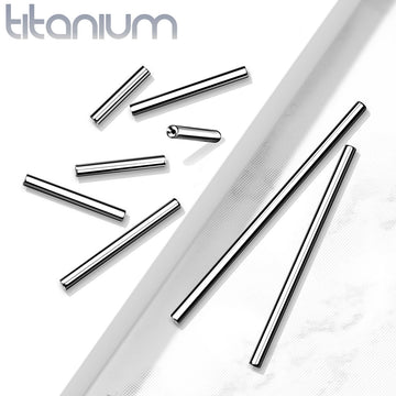 Solid Titanium Threadless Barbell Bar 14G