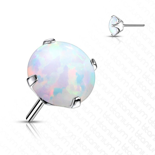 Solid Titanium Threadless Prong Set Opal End