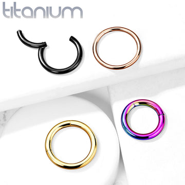 Solid Titanium Hinged  Ring 20G 18G 16G 14G
