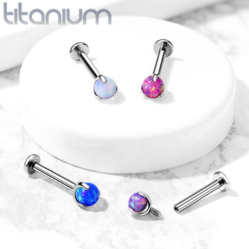 Solid Titanium Prong Set Opal Ball Labret 16G 8mm
