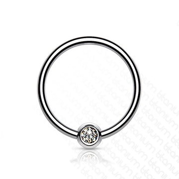 Solid Titanium Gem Captive Ring 18G 16G 14G