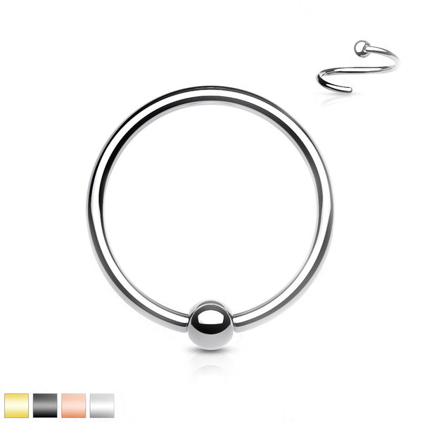 Solid Titanium Fixed Ball Nose Ring 20G 18G-My Body Piercing Jewellery