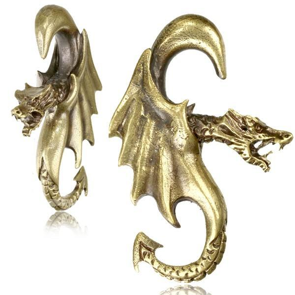 Brass Dragon Ear Weights PAIR-My Body Piercing Jewellery