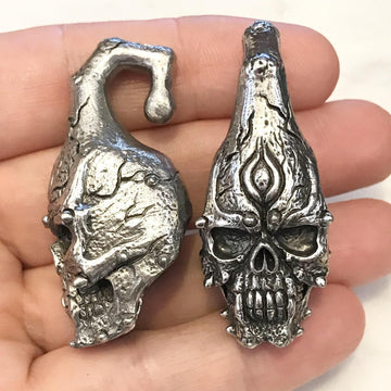 White Brass Skull Ear Weights PAIR