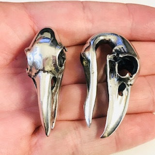 White Brass Crow Skull Ear Weights PAIR