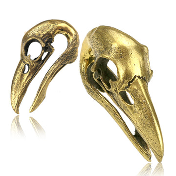 Brass Crow Skull Ear Weights PAIR