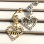 Paved LOVE Heart Belly Bar 14G-My Body Piercing Jewellery