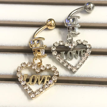 Paved LOVE Heart Belly Bar 14G