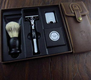 Premium Set - Double Edge razor + Beard Brush + Soap  ( Leather Packaging), Combs / Brushes / Trimmers, THEFINEBEARD, THEFINEBEARD