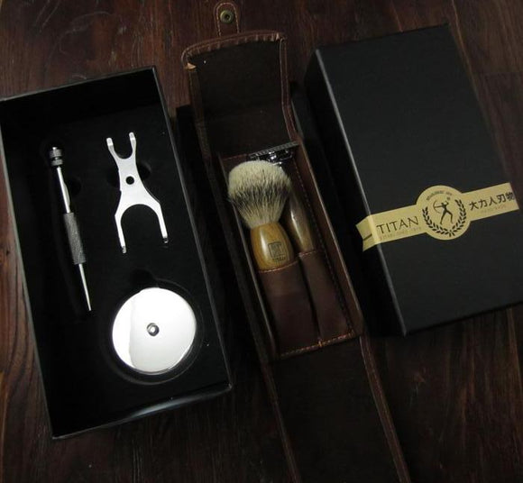 Luxurious Razor / Shaving brush / Steel Stand - Leather Packaging, Combs / Brushes / Trimmers, THEFINEBEARD, THEFINEBEARD