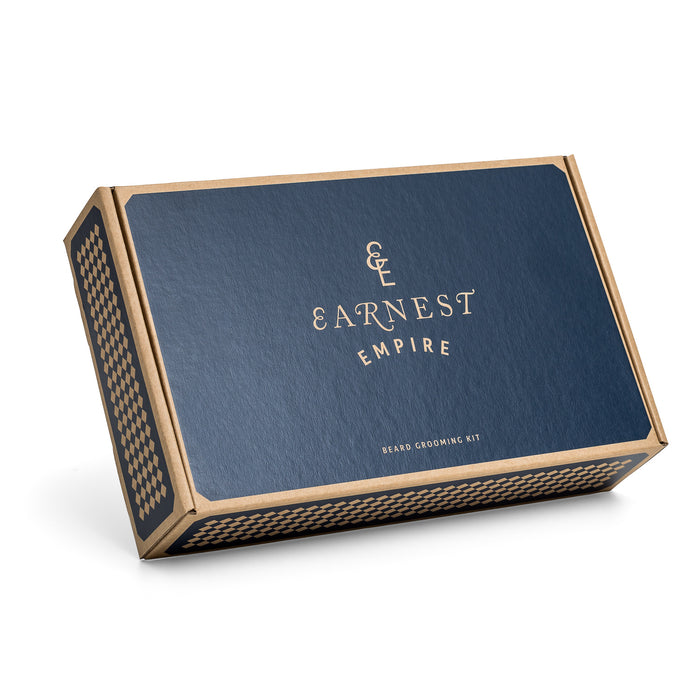 Brown Cardboard Gift Set Box Containing Beard Care Products With Blue Patterns and Logos