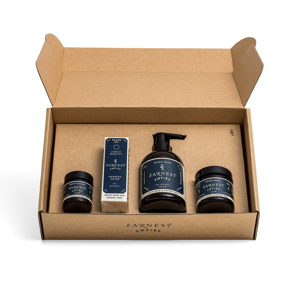 Open Brown Cardboard Gift Set Box Containing Four Beard Care Products