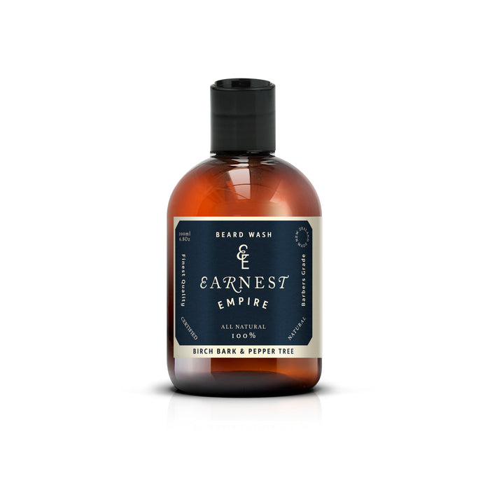 250ml Amber Plastic Bottle of Beard Wash With Blue Label
