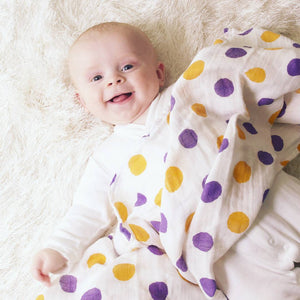 Purple and Gold Dotty Dots Bamboo Swaddle