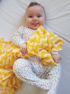 Yellow Chevron Bamboo swaddle