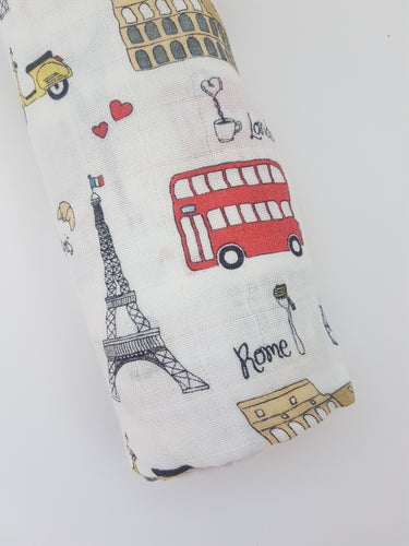 London-Paris-Rome 'The 3 Cities' Bamboo cotton Swaddle