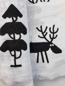 Monochrome Reindeer & tree Christmas swaddle