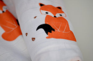 Fenella the Fox Muslin Swaddle  {From the The Aesop's Fables Collection ® - 'Fox and the Lion'}