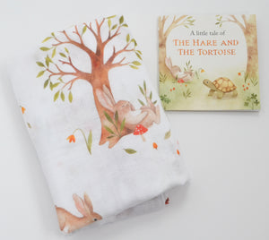 Hare and Tortoise Single Swaddle/Large Muslin with the Little Book