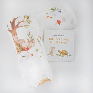 Pair of Muslin Squares in pure cotton- 'Hare and Tortoise' collection With the Little Book