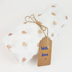 Rose Gold hearts 100% Cotton Swaddle